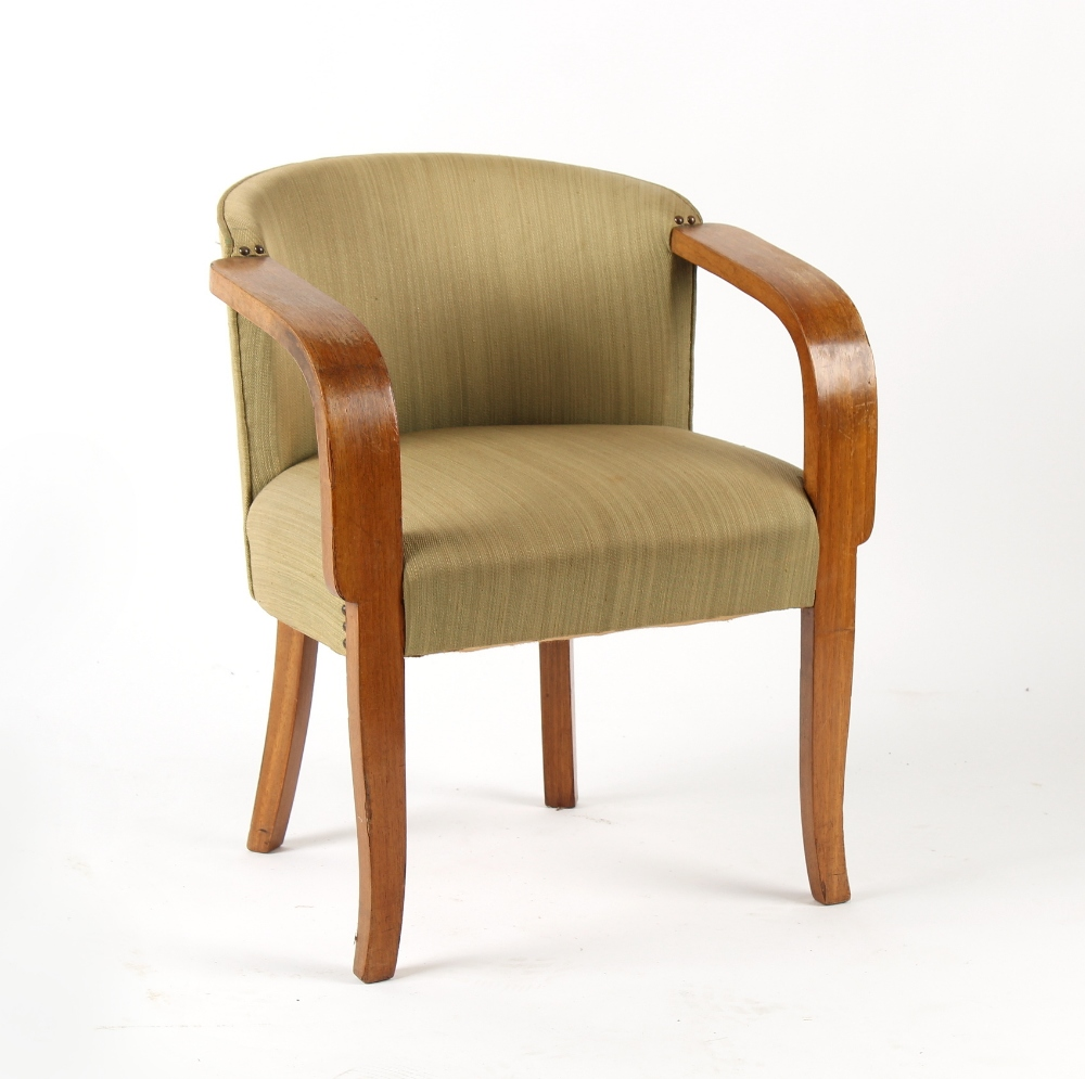 Property of a lady - a mid 20th century oak & upholstered armchair in the manner of Alvar Aalto.