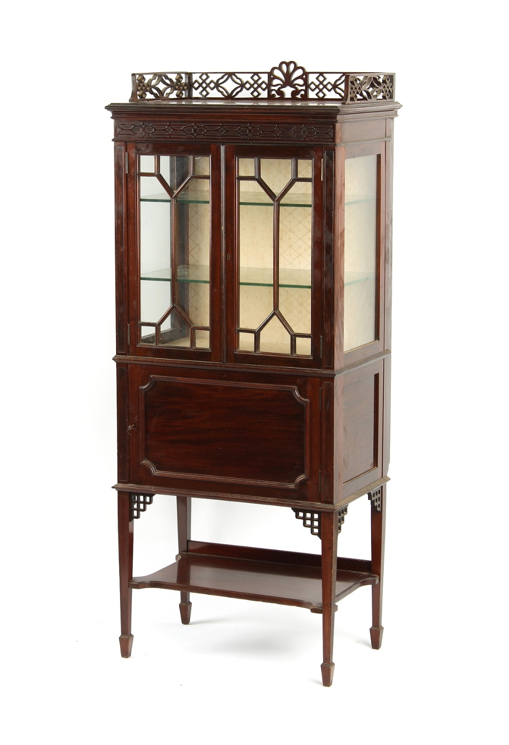 Property of a deceased estate - an Edwardian mahogany china display cabinet with blind fretwork