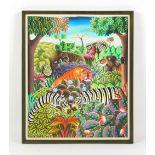 Property of a gentleman - Jerome Polycarpe (Haitian, b.1950) - JUNGLE ANIMALS - acrylic on canvas,