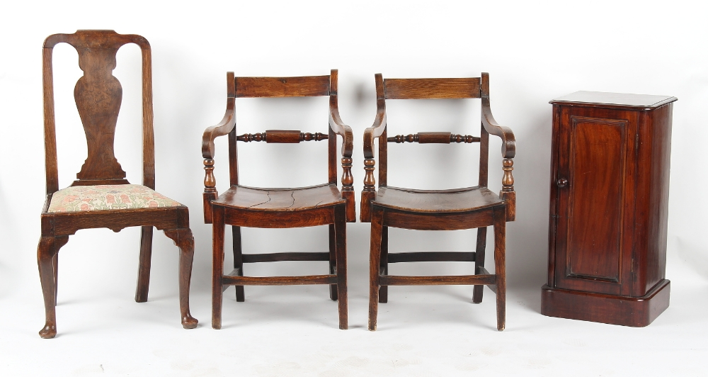 Property of a lady - a pair of early 19th century fruitwood elbow chairs with panel seats;