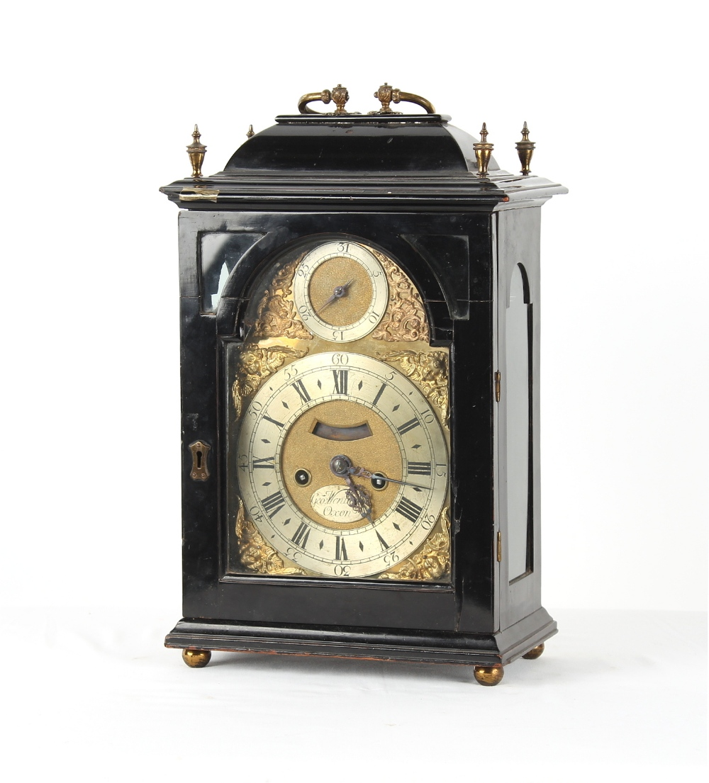 The Henry & Tricia Byrom Collection - George Wentworth, Oxon, an ebonised table clock, circa 1740, - Image 2 of 3