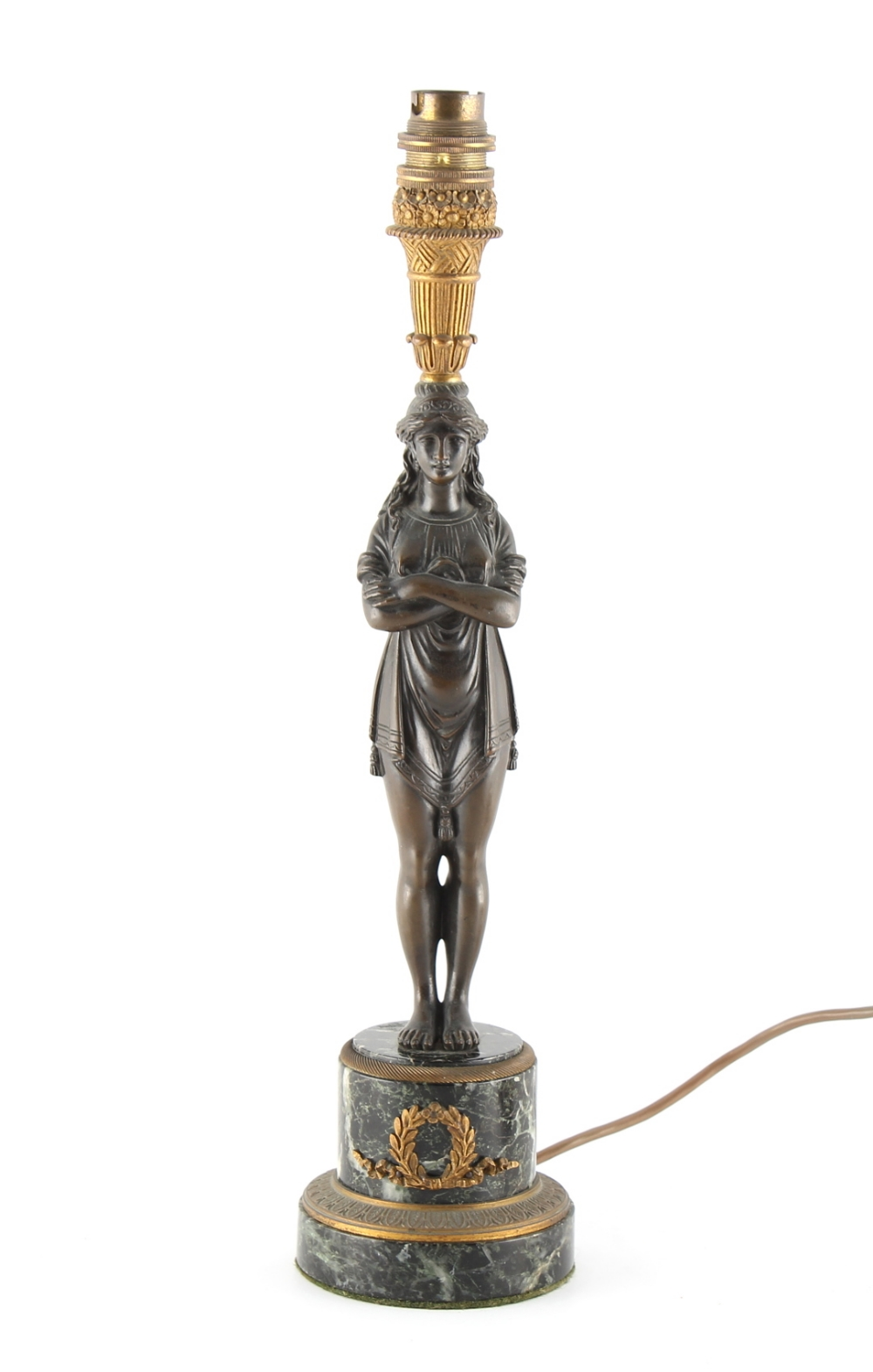 Property of a lady - a French patinated bronze & verde antico marble table lamp, 15.5ins. (39.4cms.)