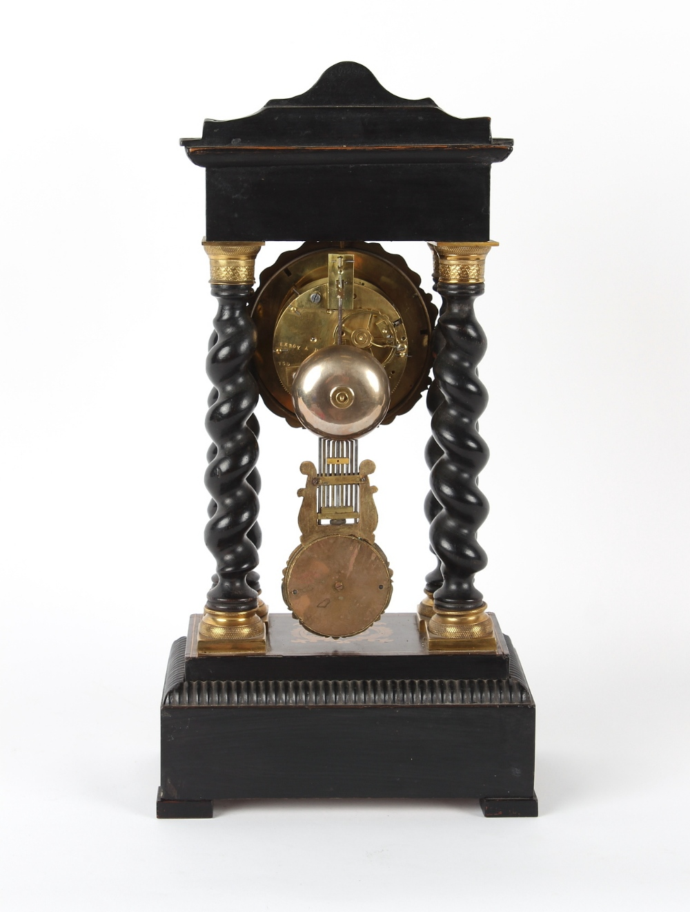 Property of a deceased estate - a mid 19th century French gilt metal mounted ebonised portico clock, - Image 2 of 2
