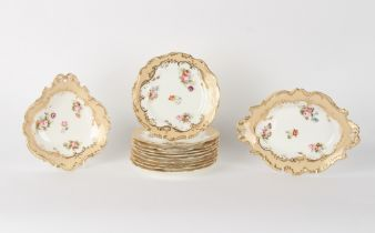 Property of a gentleman - a mid 19th century English floral painted porcelain twelve piece dessert