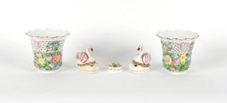 Property of a gentleman - a pair of Herend porcelain reticulated vases, 4.8ins. (12cms.) high;