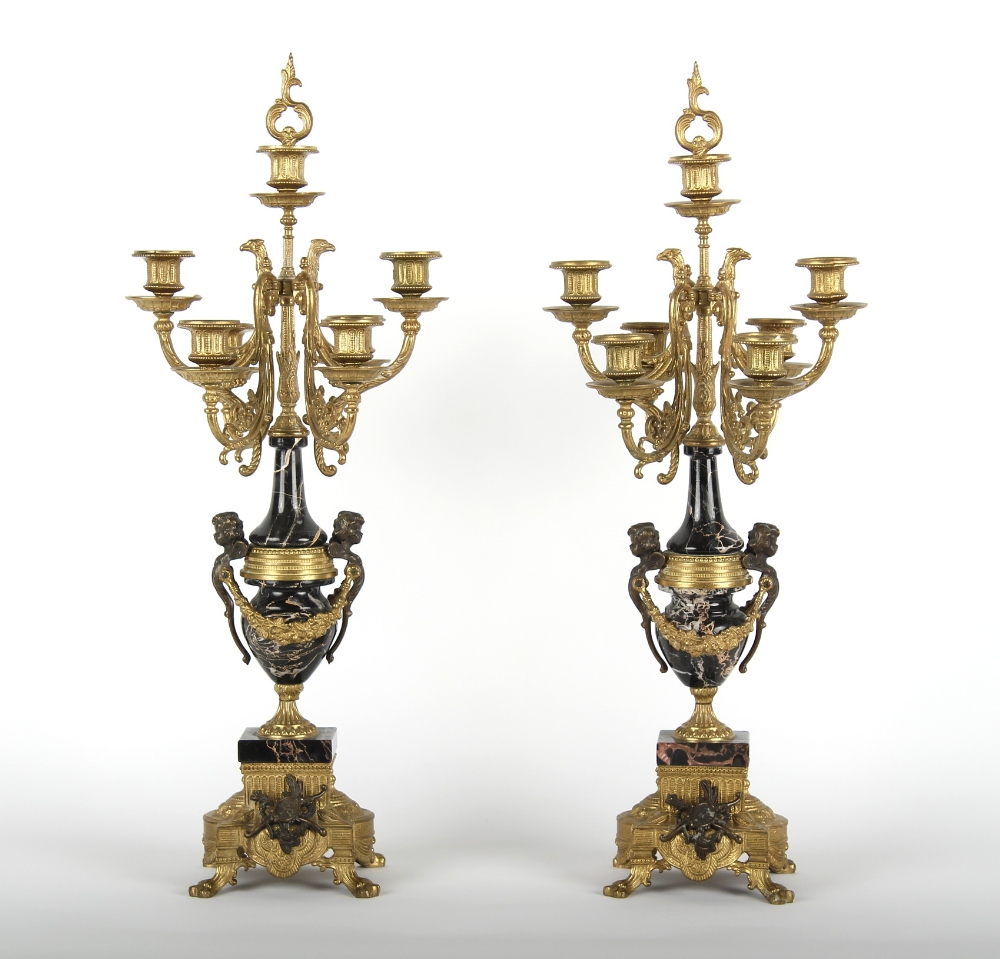 Property of a lady of title - a pair of Louis XVI style ormolu or gilt brass & marble six light