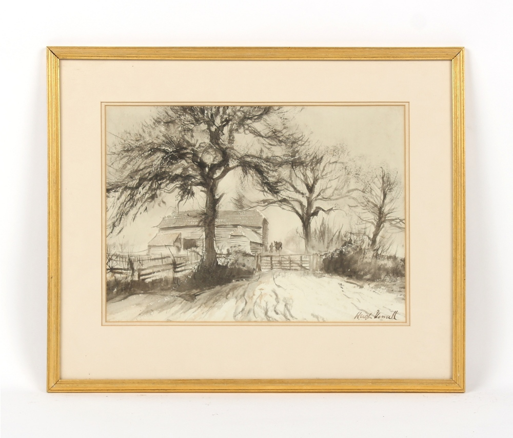 Property of a gentleman - Hugh Hewall - BARNS IN SNOW - grey wash drawing, 10.25 by 14.25ins. (26 by
