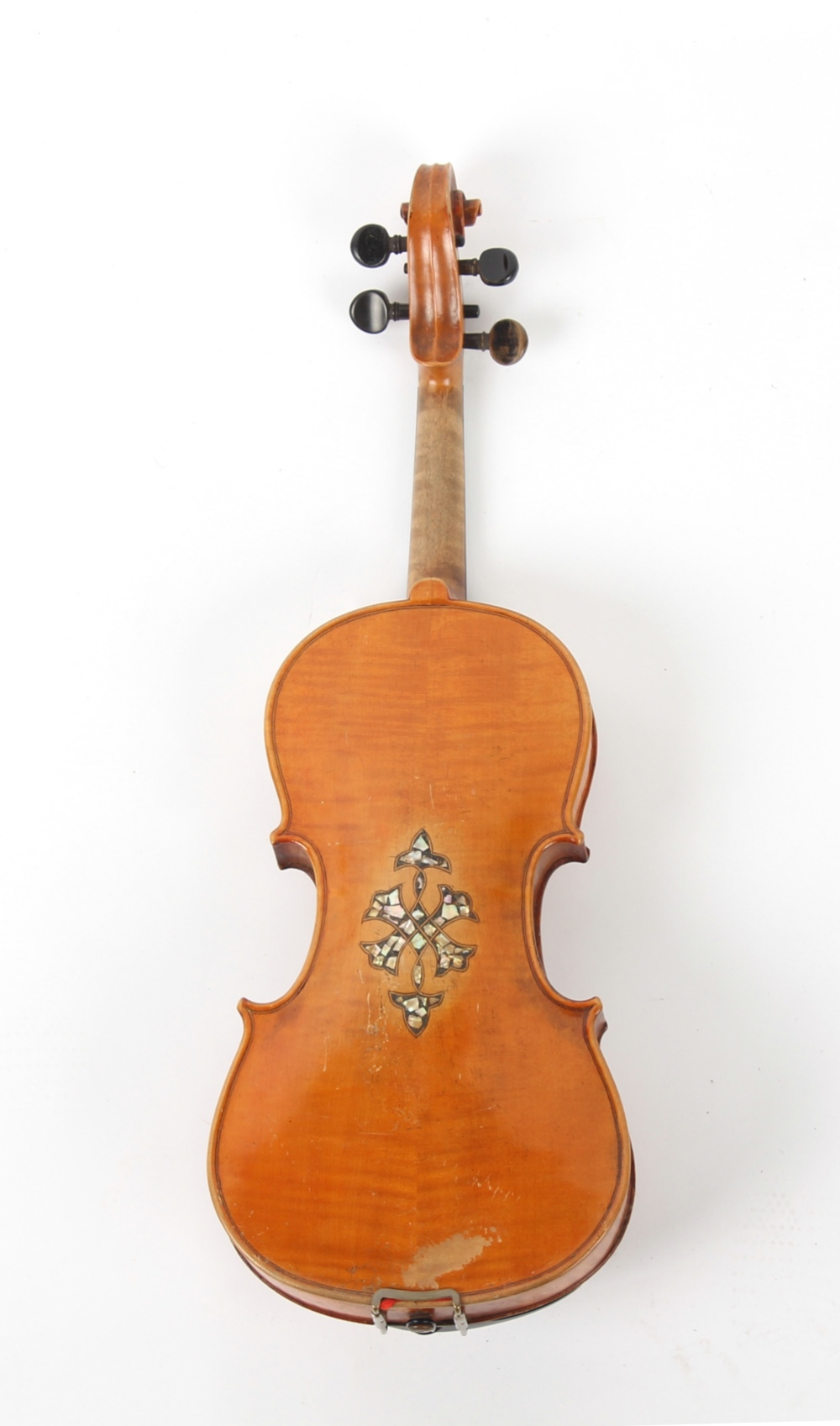 Property of a gentleman - a German violin, the back with inlaid mother-of-pearl decoration. - Image 2 of 2