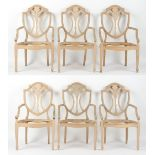 Property of a gentleman - a set of six Hepplewhite style open armchair or carver chair frames (6).