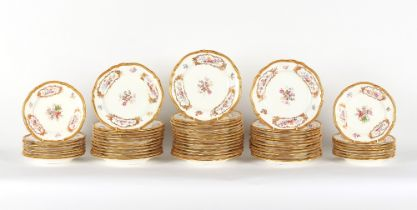 Property of a gentleman - a set of thirty-nine Minton floral painted porcelain dinner plates, red