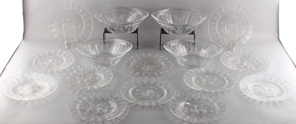 Property of a lady - a complete Edwardian Stuart cut glass dessert set comprising a set of four