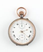 The Henry & Tricia Byrom Collection - a gun metal cased chronograph pocket watch with red outer ring