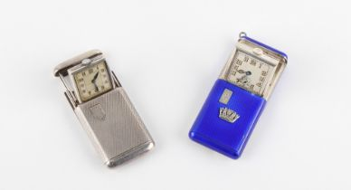 The Henry & Tricia Byrom Collection - an Art Deco Vertex silver & blue guilloche enamel sliding
