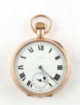 The Henry & Tricia Byrom Collection - a 9ct gold open faced keyless wind pocket watch, the enamel