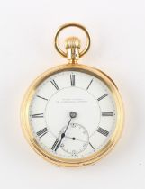 The Henry & Tricia Byrom Collection - an 18ct gold open faced pocket watch, the movement engraved '