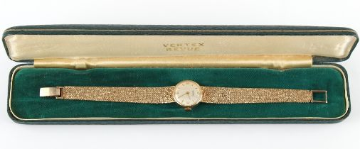 The Henry & Tricia Byrom Collection - a lady's Vertex Revue 9ct gold cased wristwatch on 9ct gold