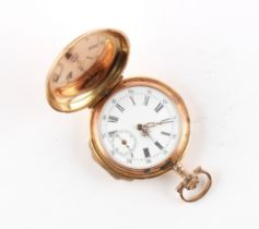 The Henry & Tricia Byrom Collection - a Swiss 14ct gold hunter cased small pocket watch or fob