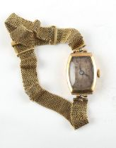 Property of a lady - an early 20th century lady's 18ct gold cased wristwatch on 18ct gold mesh
