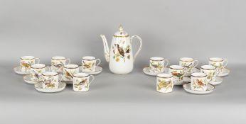 Property of a lady of title - a Spode bone china ornithological coffee set, Audubon Birds pattern,