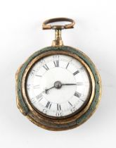 The Henry & Tricia Byrom Collection - a George III gold plated & shagreen pair cased pocket watch,