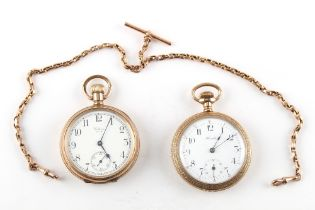 Property of a gentleman - a Waltham gold plated keyless wind pocket watch; together with a Hamlet