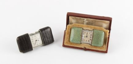 The Henry & Tricia Byrom Collection - a Movado Chronometre Ermeto shagreen cased purse watch, 1927