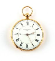The Henry & Tricia Byrom Collection - an 18ct gold open faced pocket watch, the enamel dial