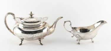Property of a gentleman - an early 20th century silver teapot, engraved monogram, W. Lister &