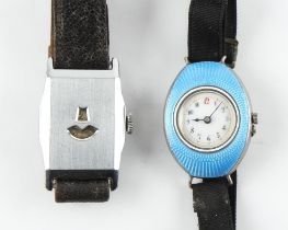 The Henry & Tricia Byrom Collection - a lady's early 20th century silver & pale blue guilloche