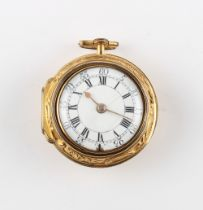 The Henry & Tricia Byrom Collection - a George II/III gold plated repousse pair cased pocket