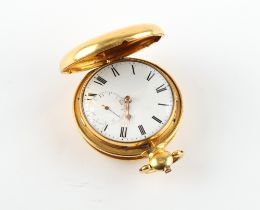 The Henry & Tricia Byrom Collection - a 19th century gilt hunter cased pocket watch, the verge fusee
