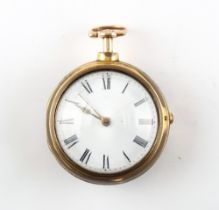 The Henry & Tricia Byrom Collection - a George I gilt pair cased pocket watch, the verge fusee