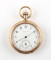 The Henry & Tricia Byrom Collection - a 14ct gold open faced keyless wind pocket watch, the enamel