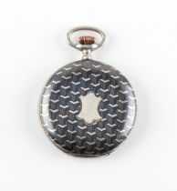 The Henry & Tricia Byrom Collection - a Swiss silver & niello hunter cased pocket watch, the dust