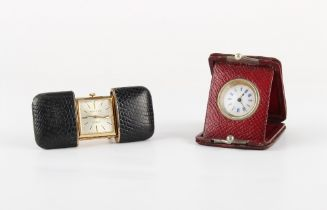 The Henry & Tricia Byrom Collection - an early 20th century red morocco cased folding travel