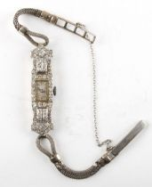 Property of a lady - a 1920's lady's platinum & diamond cocktail watch with Swiss 17-jewel movement,