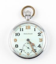 The Henry & Tricia Byrom Collection - a Jaeger-Le-Coultre military pocket watch, the back with broad