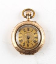 Property of a gentleman - an early 20th century 14ct yellow gold & floral enamel decorated fob