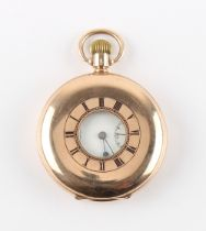 The Henry & Tricia Byrom Collection - an Omega 9ct gold half hunter cased pocket watch, with blue