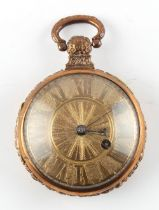 The Henry & Tricia Byrom Collection - a 19th century gilt cased pocket watch, the verge fusee