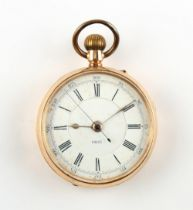 The Henry & Tricia Byrom Collection - a 14ct gold open faced keyless wind pocket watch with centre