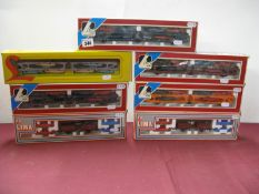 "Seven Lima ""HO"" Gauge Car Transporter Rolling Stock Items, all Continental derivatives, boxed."