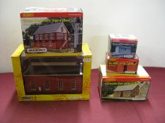 "Five ""OO"" Scale Plastic Model Lineside Buildings, by Hornby, Scenix including Skaledale Great"