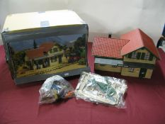 A LGB 'G' Scale Outline Continental Kit Built Model Railway Station, 'G' Scale lineside figures,