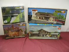 Four HO Scale Lineside Buildings and Accessories Plastic Model Kits, by Faller, Kibri, including