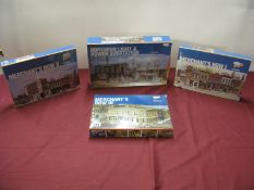 Four HO Scale Plastic Model Building Kits, by Walthers, including Merchants Row I II III Northern