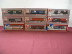 "Nine ""HO"" Gauge Rolling Stock Items, by Lima, including #302849 Four Wheeled Wagon 'Chiquita',"