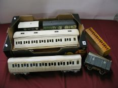 A Quantity of Gauge 1 Rolling Stock, including two and eight wheel coaches, a six wheel coach and
