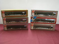 "Six Lima ""HO"" Gauge Swiss SBB FFS Liveried Eight Wheel Coaches, boxed."