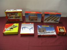 "Seven Hornby ""OO"" Gauge Plastic Model Lineside Buildings and Accessories, both kits and clip"